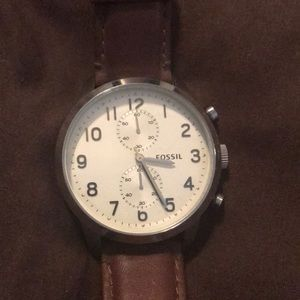 Men's Fossil Brown Leather Band Watch